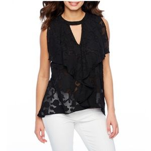 Bold Elements Tops - NWT Bold Elements Jacquard Top w/ Ruffle Detail